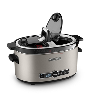 KitchenAid® Architect Series 6-Quart Slow Cooker with Easy Serve Lid is perfect for every course, from hearty soups and tender meats to decadent desserts. Includes 4 temperature settings, LOW, MEDIUM, HIGH, KEEP WARM. The Easy Serve Lid is hinged on either side of the handle and allows for easy access and one-handed serving.