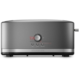 KitchenAid® 4-Slice toaster that accommodates a variety of shapes and sizes of Artisan breads. This toaster features 7 shade settings, including Bagel, Defrost, Reheat and Keep Warm. An easy-to-clean, removable crumb tray located along the entire bottom of the toaster, slides out for easy cleaning.