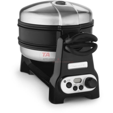 KitchenAid waffle baker with CeramaShield non-stick coating. Featuring a preheat indicator and a digital countdown timer, over bake indicator, and automatic shut-off. Can bake two consistent grand Belgian waffles at a time.