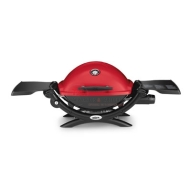 Weber Q1200 portable Propane grill featuring 189 in² total cooking area surface powered by a 8500 BTU stainless steel burner. It also features a 2-piece porcelain-enameled cast iron cooking grates. http://www.taappliance.com/en/catalog/product/300004-Weber-Q1200-51040001?searchterm=Red