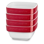 KitchenAid nesting ceramic 4-piece stacking 8oz Ramekin bakeware set. Constructed from durable ceramic, these ramekins are oven safe up to 500°F and are resistant to staining, chipping, cracking, and crazing. The non-porous ramekins also won't absorb food odors, flavors, or bacteria. Model in Empire Red color. http://www.taappliance.com/en/catalog/product/322787-KitchenAid-KBLR04RMER?searchterm=Red