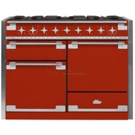 "AGA Elise 48"" dual fuel range with 5 sealed brass burners each topped with a porcelain enamel finish cast iron flame spreader to provide superb heat distribution and retention. http://www.taappliance.com/en/catalog/product/372338-AGA-AEL48DFSCR?searchterm=Red"